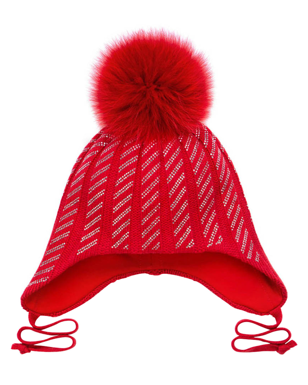 Купить Красная шапка с меховым помпоном и стразами Chobi детская, Красный, 40%шерсть+35%вискоза+10%полиамид+10%кашемир+5%ангора, 98%хлопок+2%эластан, 100%мех песца
