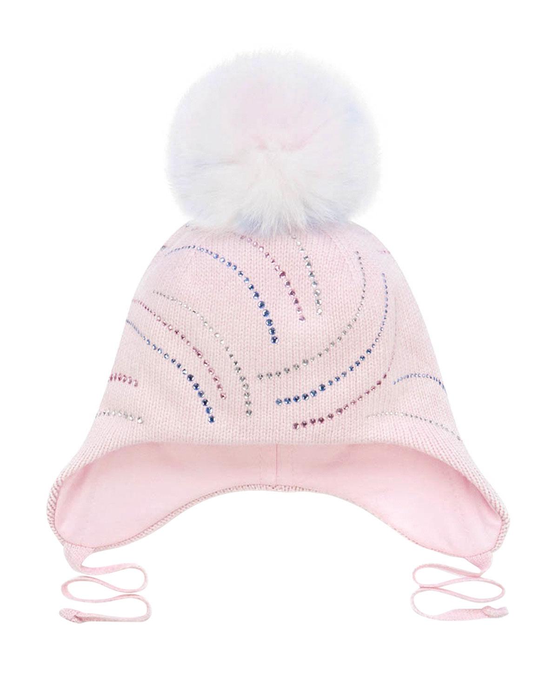 Купить Розовая шапка со стразами Chobi детская, Белый, 40%шерсть+35%вискоза+10%полиамид+10%кашемир+5%ангора, 98%хлопок+2%эластан, 100%мех песца