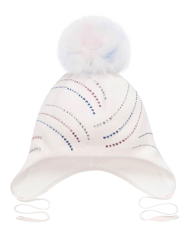 Купить Белая шапка с разноцветными стразами Chobi детская, Белый, 40%шерсть+35%вискоза+10%полиамид+10%кашемир+5%ангора, 98%хлопок+2%эластан, 100%мех песца