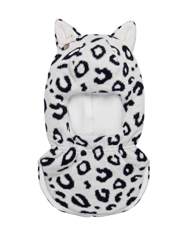 Купить Белая шапка-шлем с леопардовым принтом Chobi детская, Бежевый, 40%шерсть+35%вискоза+10%полиамид+10%кашемир+5%ангора, 98%хлопок+2%эластан