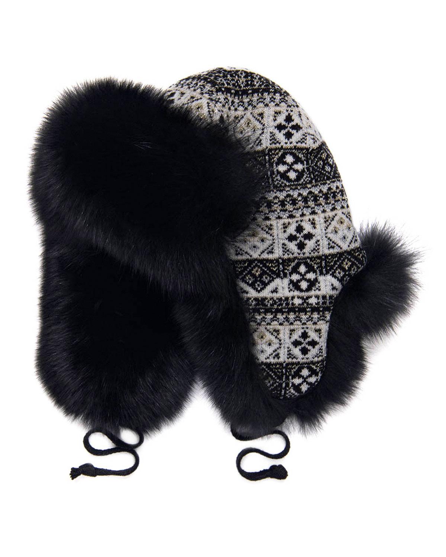Купить Черная жаккардовая шапка-ушанка Chobi детская, Бежевый, 40%шерсть+35%викоза+10%полиамид+10%кашемир+5%ангора, 100%мех песца