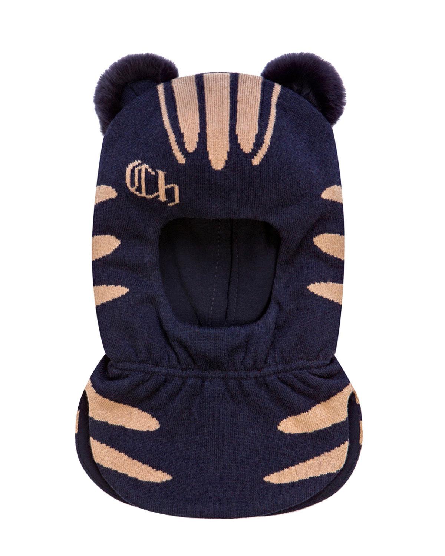 Купить Синяя шапка-шлем с меховыми ушками Chobi детская, Синий, 40%шерсть+35%вискоза+10%полиамид+10%кашемир+5%ангора, 98%хлопок+2%эластан, 100%мех кролика