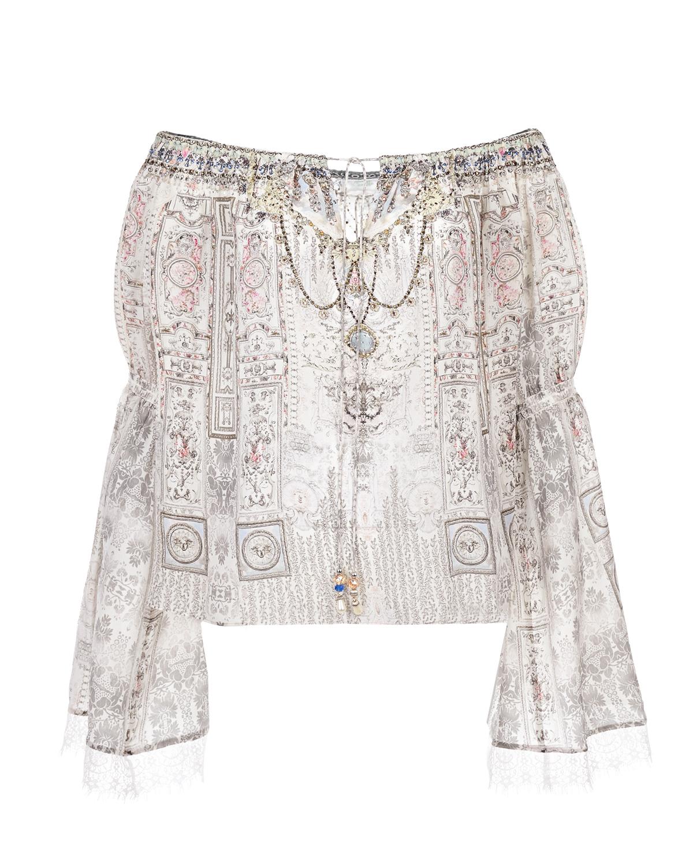 Купить Шелковая блуза с открытыми плечами Camilla