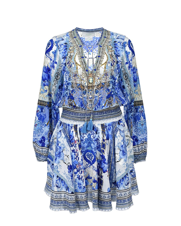 Купить Шелковое мини-платье с V-образным вырезом Camilla