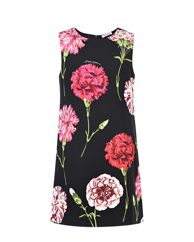 Купить Черное шелковое платье с цветочным принтом Dolce&Gabbana детское, Черный, 92%шелк+8%эластан, 100%вискоза
