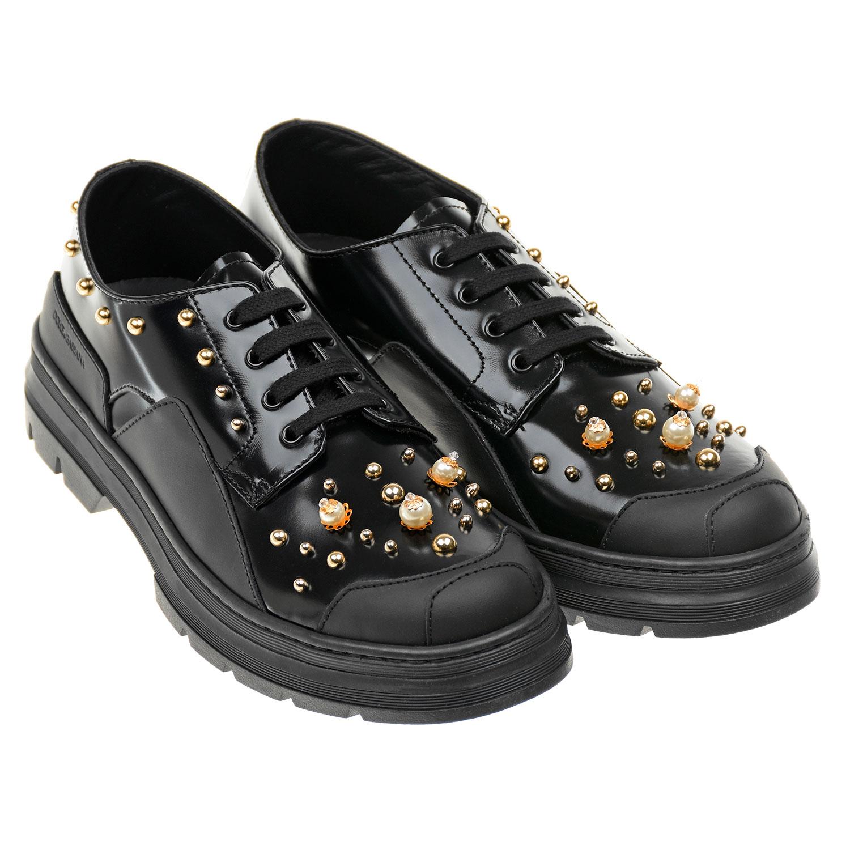 Кожаные ботинки с золотистым декором Dolce&Gabbana детские фото