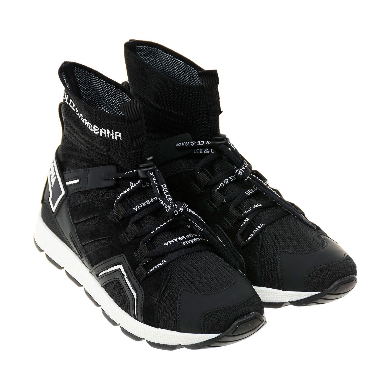 Купить Черные кроссовки с эластичными манжетами Dolce&Gabbana детские, Черный, верх-60%полиэстер+37%нат.кожа+3%вискоза, подкладка-50%нат.кожа+50%текстиль, подошва-100%резина