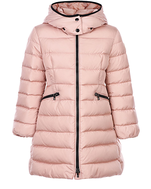 Розовое пальто-пуховик с капюшоном Moncler детское фото
