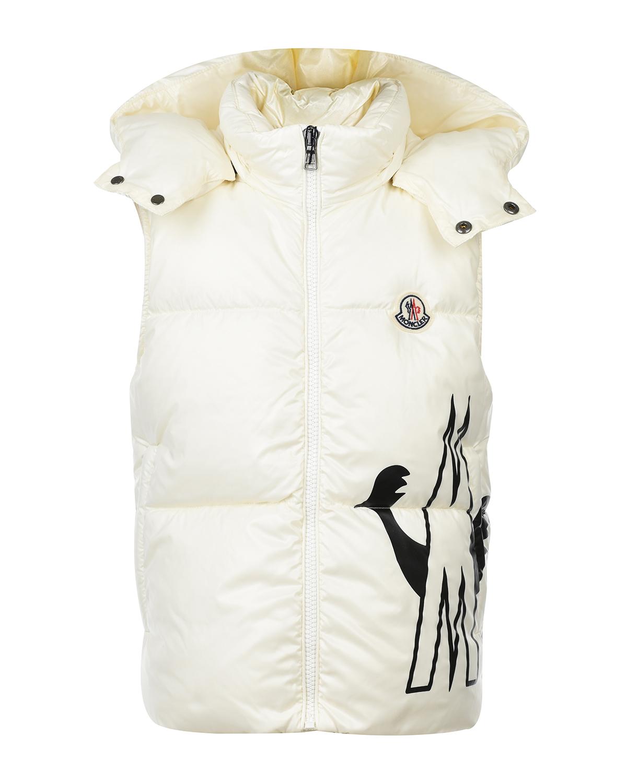 Купить Белый пуховый жилет Gesse с логотипом Moncler детский, 100%полиамид, 90%пух+10%перо
