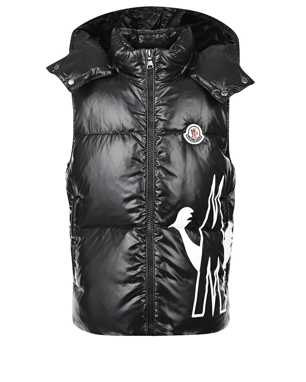 Купить Черный пуховый жилет Gesse с логотипом Moncler