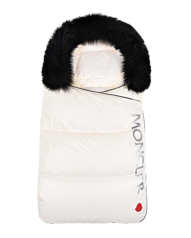 Белый конверт с черной опушкой Moncler детский фото