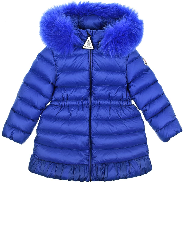 Купить Синее пальто с опушкой в тон Moncler детское, Синий, 100%полиамид, 90%пух+10%перо, мех лисы