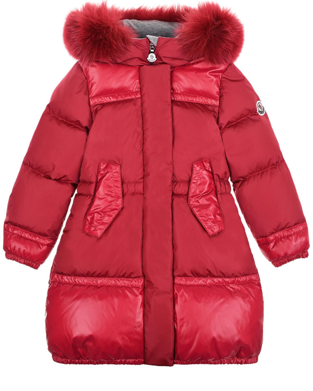 Красное пуховое пальто с глянцевыми вставками Moncler детское фото