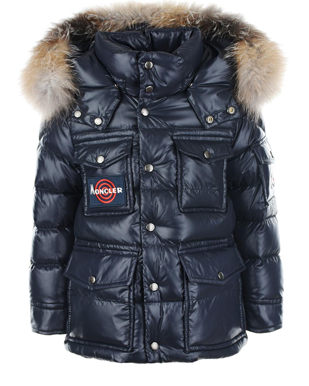 Стеганая куртка с накладными карманами Moncler детская фото
