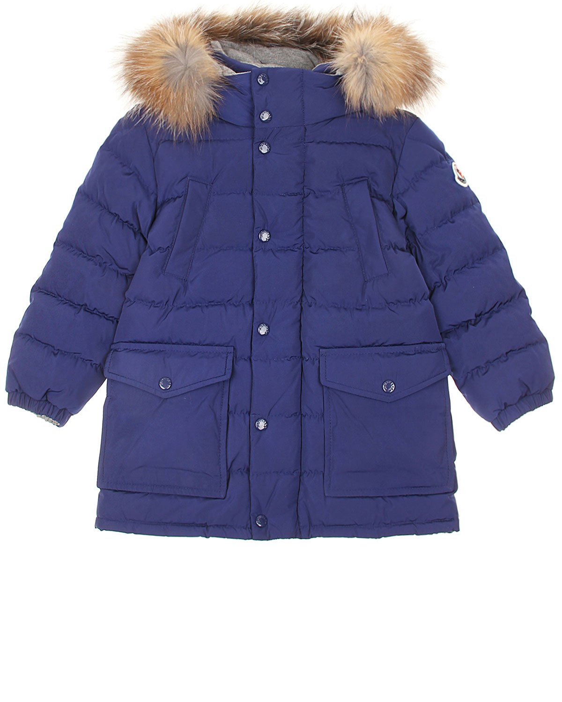 Удлиненная куртка с капюшоном и меховой отделкой Moncler детская фото
