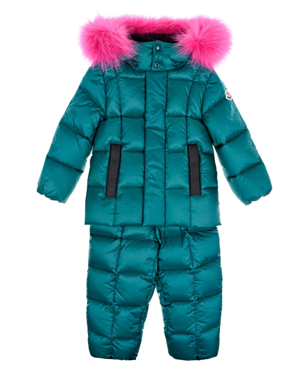 Купить Зеленый пуховый комплект из куртки и комбинезона Moncler детский, 100%полиамид, 100%хлопок, 90%пух+10%перо, мех Енота