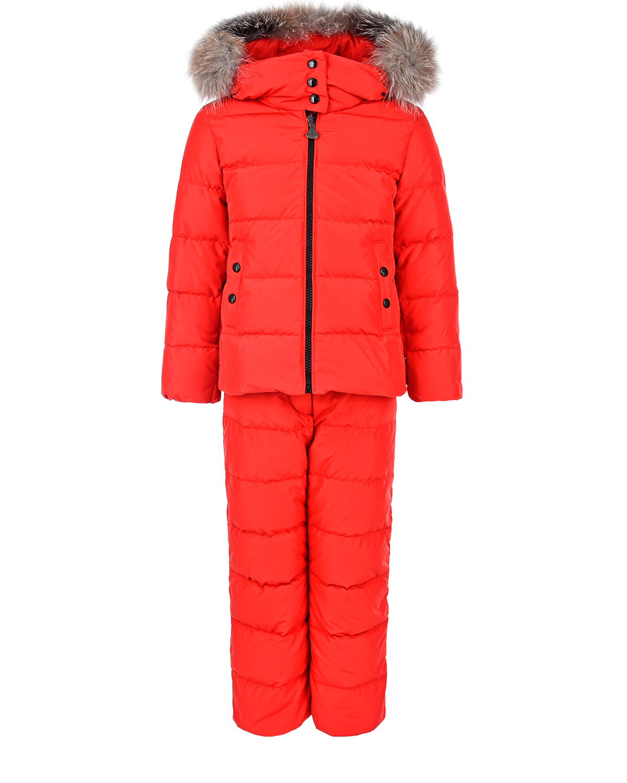 Красный пуховый комплект из куртки и комбинезона Moncler детский