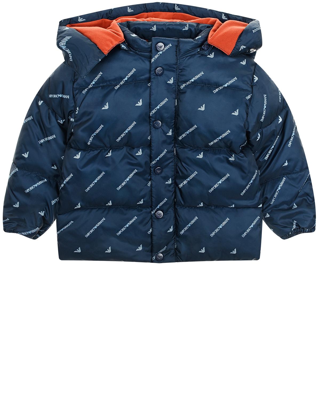 Купить Синяя куртка с капюшоном Emporio Armani детская, Синий, 100%полиэстер, 100%хлопок, 100%полиамид