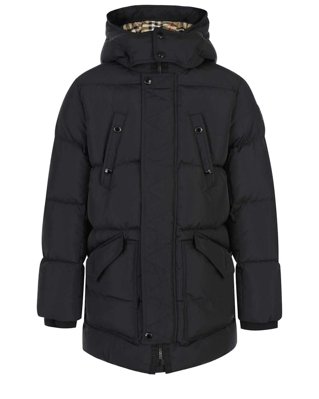 Черная куртка со съемным капюшоном Burberry детская фото