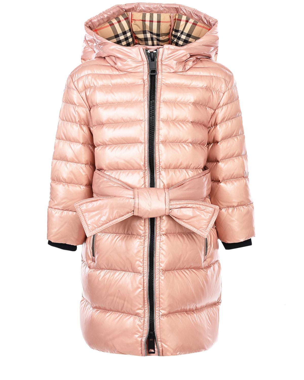 Купить Розовое пальто-пуховик с капюшоном Burberry детское, Нет цвета, 100%полиамид, 99%полиамид+1%эластан, 80%пух+20%перо