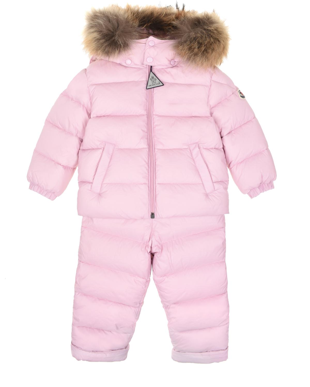 Купить Розовый пуховый комплект из куртки и комбинезона Moncler детский, 100%полиамид, 100%хлопок, 90%пух+10%перо, мех енота