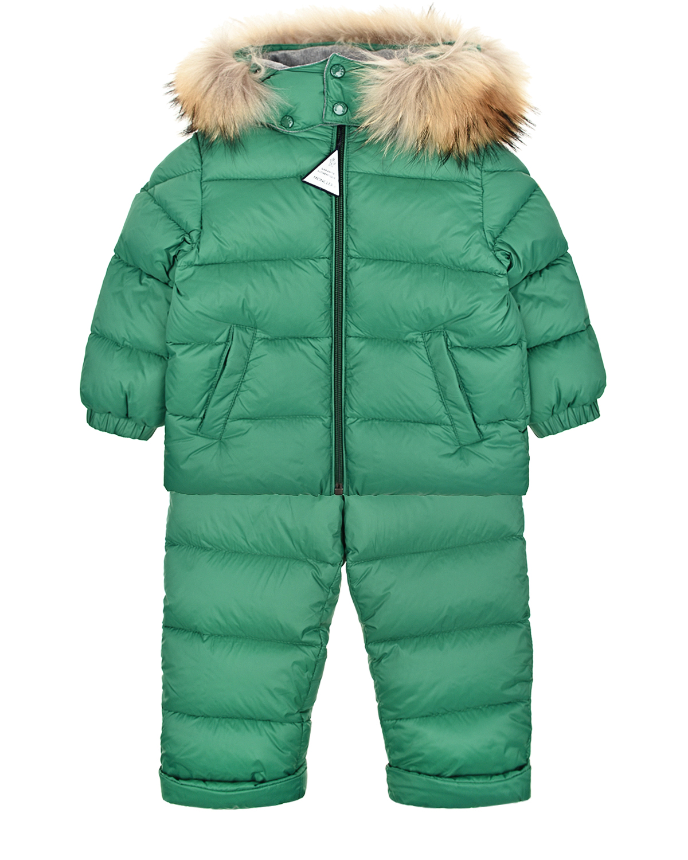 Купить Комплект из пуховой куртки и комбинезона на подтяжках Moncler детский, Зеленый, 100%полиамид, 100%хлопок, 90%пух+10%перо, мех енота