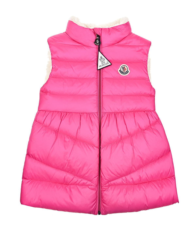 Купить Розовый пуховый жилет Moncler детский, 100%полиамид, 100%полиэстер, 90%пух+10%перо