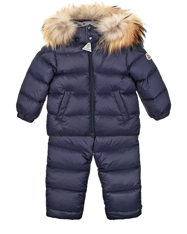 Купить Пуховый комплект из комбинезона и куртки с меховой отделкой Moncler детский, Синий, 100%полиамид, 100%хлопок, 90%пух+10%перо, мех енота