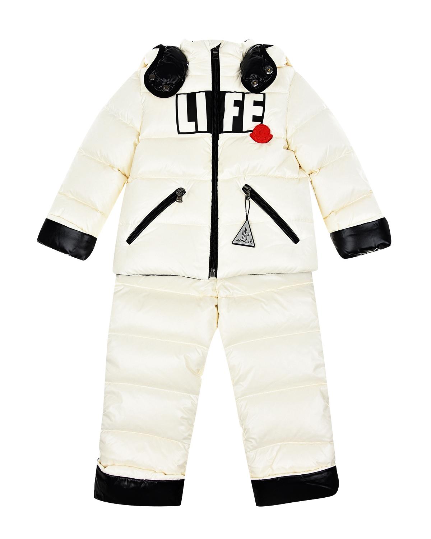 Комплект из белой пуховой куртки и полукомбинезона Moncler детский фото