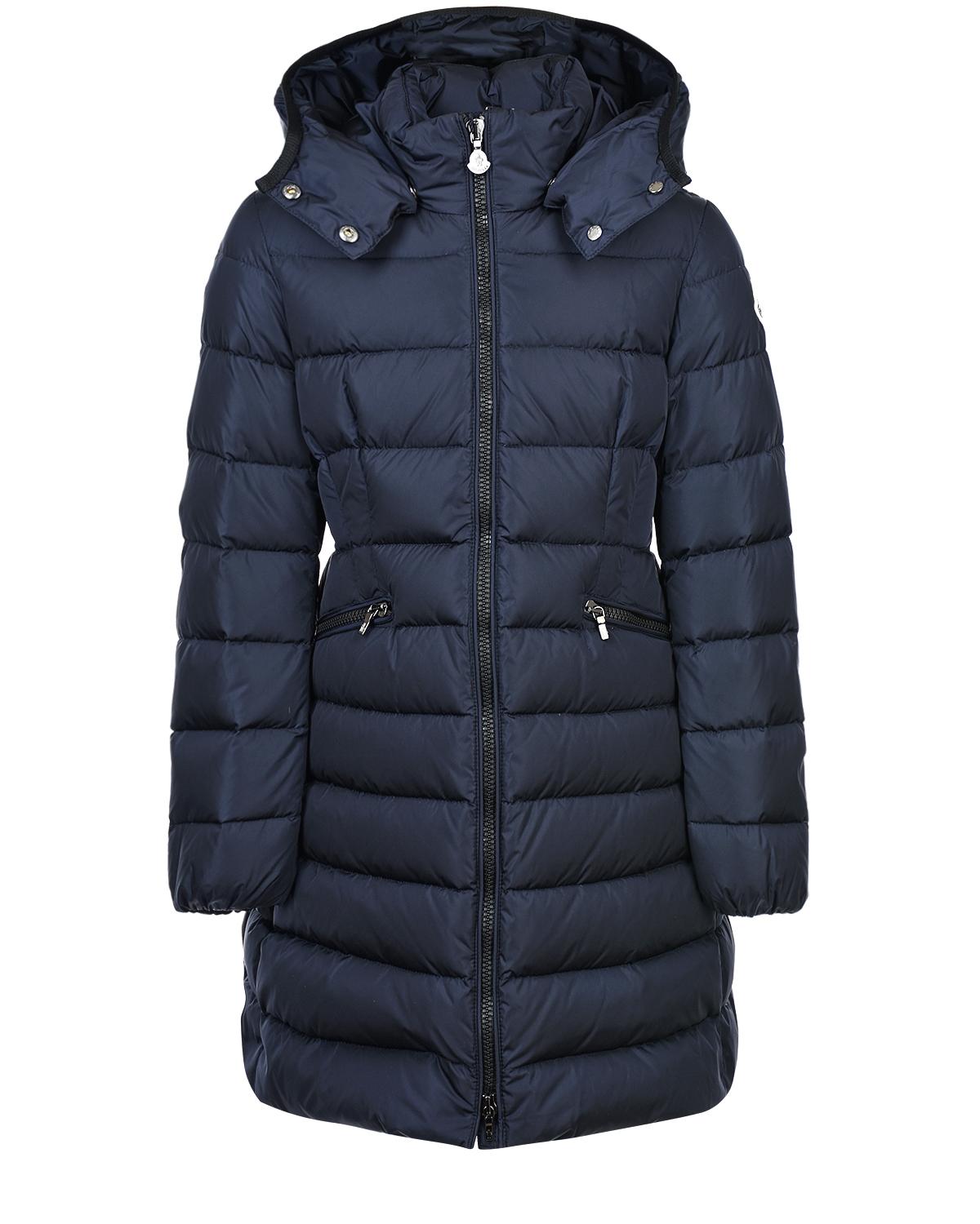 Купить Приталенное пуховое пальто Moncler детское, Синий, 100%полиамид, 90%пух+10%перо