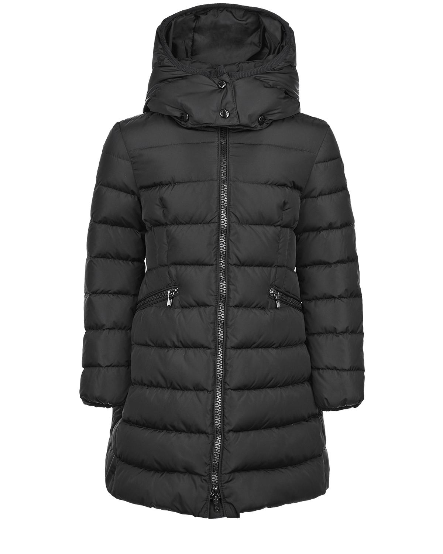 Базовое пальто-пуховик черного цвета Moncler детское фото