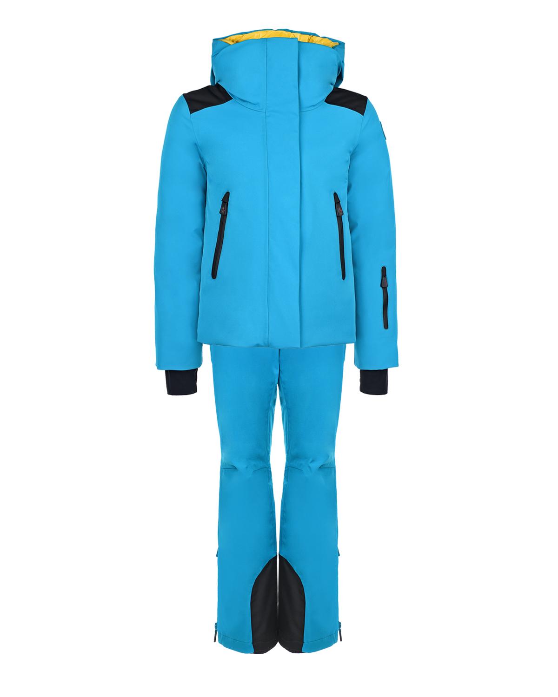 Ярко-голубой комплект из пуховой куртки и полукомбинезона Moncler детское