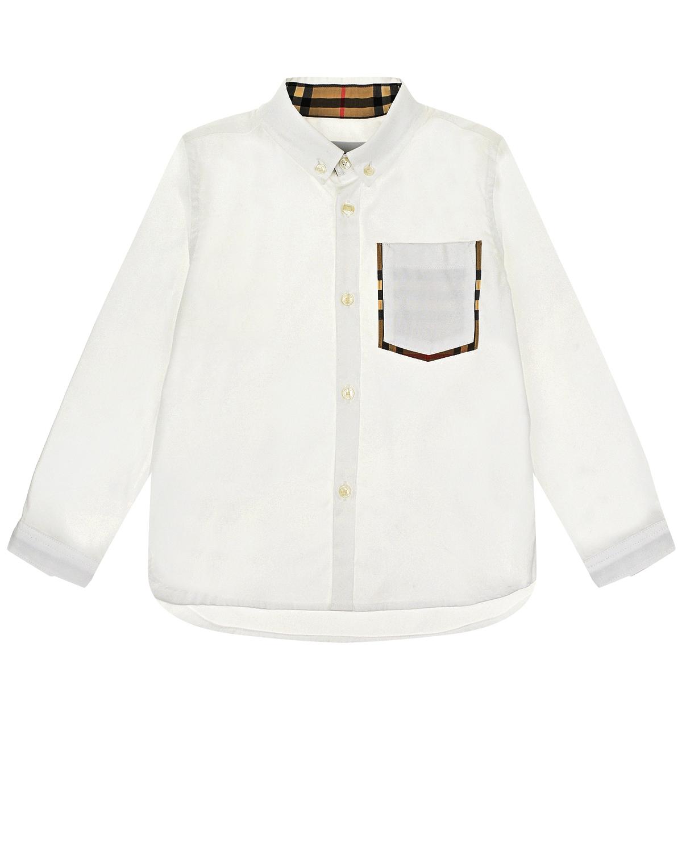 Белая рубашка с отделкой в клетку Vintage Check Burberry детская фото