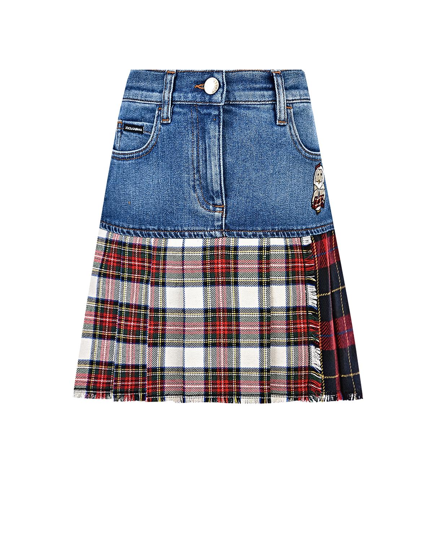Купить Джинсовая юбка с подолом в клетку Dolce&Gabbana детская, Мультиколор, 53%хлопок+23%шерсть+10%шерсть+6%полиэстер+4%акрил+2%эластан, 60%вискоза+40%полиэстер