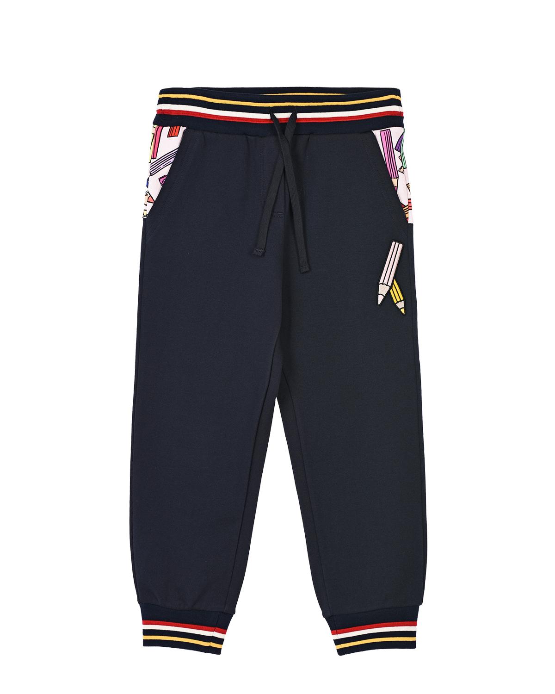 Купить Спортивные брюки с принтом карандаши Dolce&Gabbana детские, Синий, 100%хлопок, 96%хлопок+4%эластан, 35%полиэстер+23%полиуретан+22%полиамид+15%вискоза+5%эластан