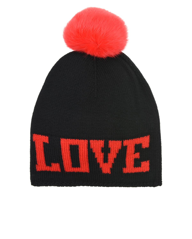 Купить Черная шапка с помпоном из меха кролика Dolce&Gabbana детская, Черный, 100%шерсть, мех Кролика