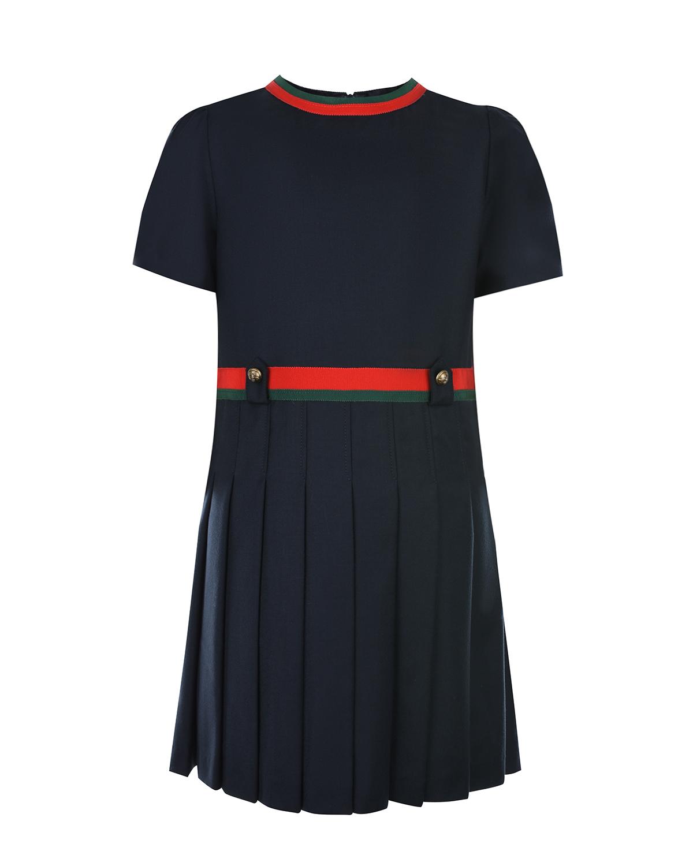 Платье из шерсти с плиссированной юбкой GUCCI детское фото