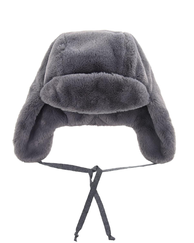 Купить Серая шапка-ушанка Chobi детская, Серый, 100%полиэстер, 98%хлопок+2%эластан, искус.мех