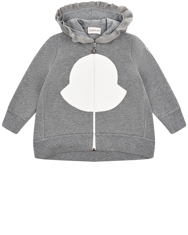 Купить Серая спортивная куртка с капюшоном Moncler детская, Серый, 95%хлопок+5%эластан, 100%хлопок, 80%хлопок+20%полиэстер, 100%полиэстер