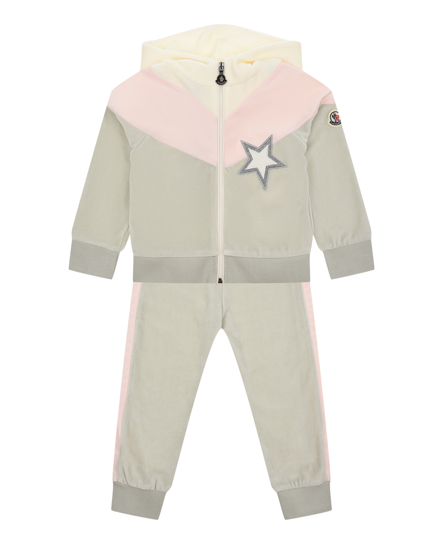 Купить Серый спортивный костюм с розовой вставкой Moncler детский, 88%хлопок+12%поллиэстер, 95%хлопок+5%эластан, 100%полиэстер, 63%вискоза+21%полиамид+16%металл.нить, 88%хлопок+12%полиэстер