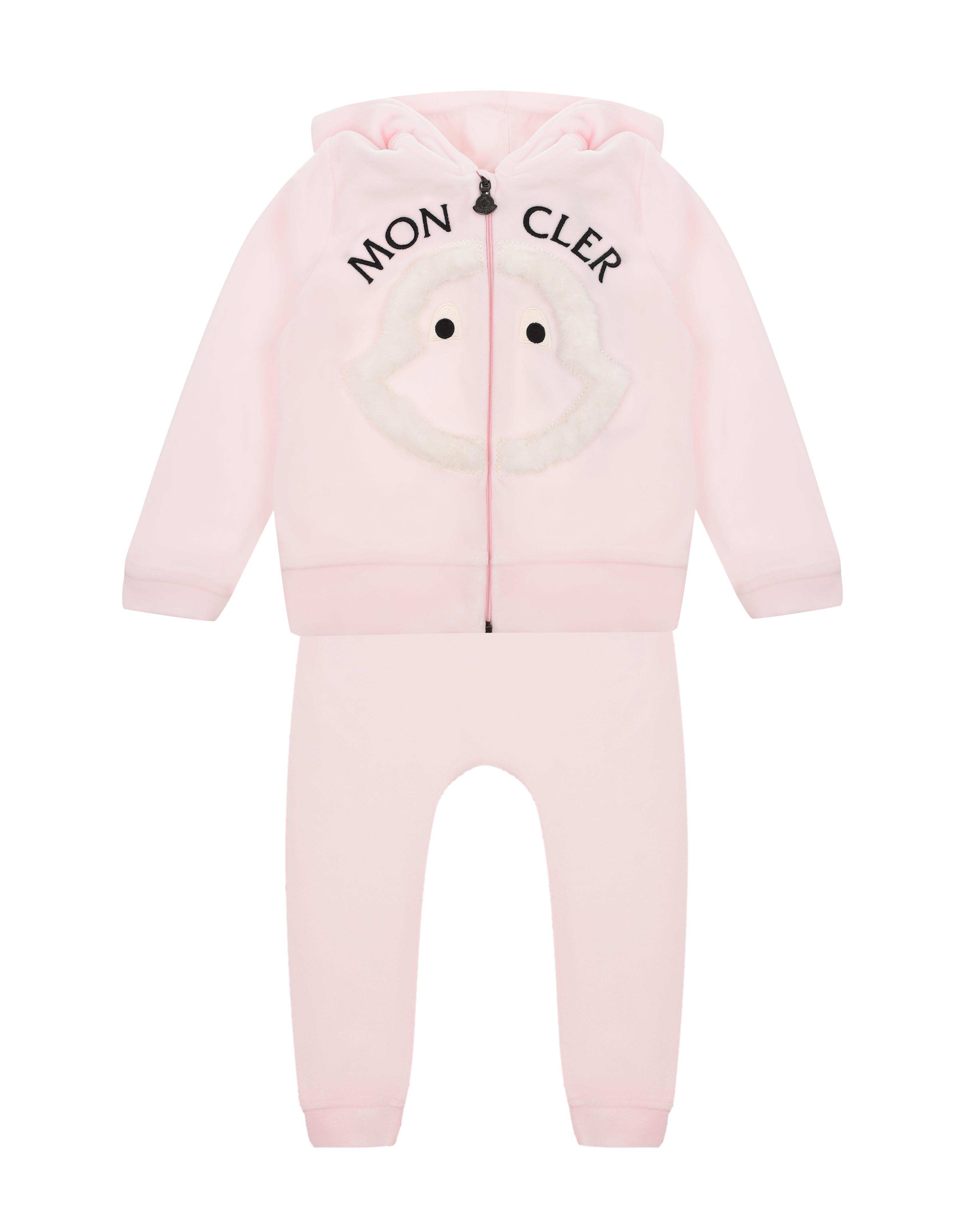 Купить Розовый спортивный костюм с логотипом Moncler детский, 100%полиэстер, 88%хлопок+12%полиэстер