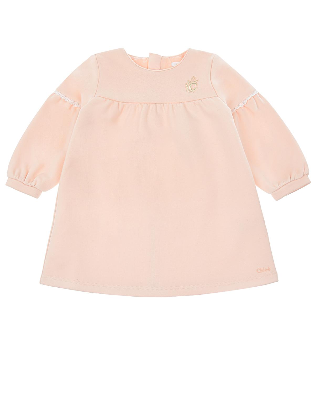 Купить Розовое платье с вышивкой Chloe детское, Розовый, 100%хлопок, 88%хлопок+12%полиэстер
