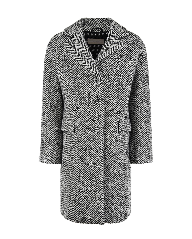 Купить Серое пальто в елочку Ermanno Scervino детское, Серый, 35%акрил+33%шерсть+20%полиэстер+8%полиамид+3%металлизированный полиэстер+1%др.волокна, 100%полиэстер