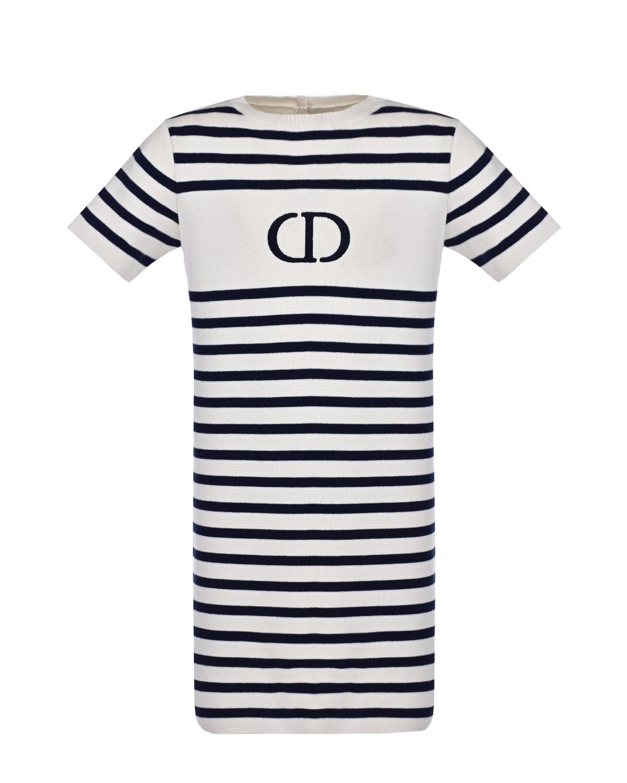 Купить Платье в синюю полоску Dior детское, Мультиколор, 88%хлопок+12%кашемир