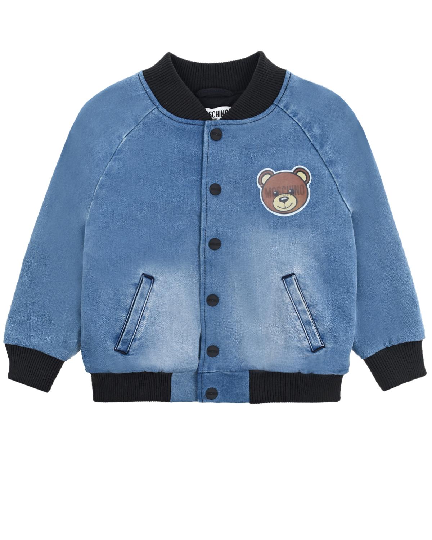 Купить Джинсовая куртка-бомбер Moschino детская, Голубой, 74% хлопок+16% полиэстер+9% вискоза+1% эластан, 95% хлопок+5% эластан, 100% полиамид, 100% полиэстер