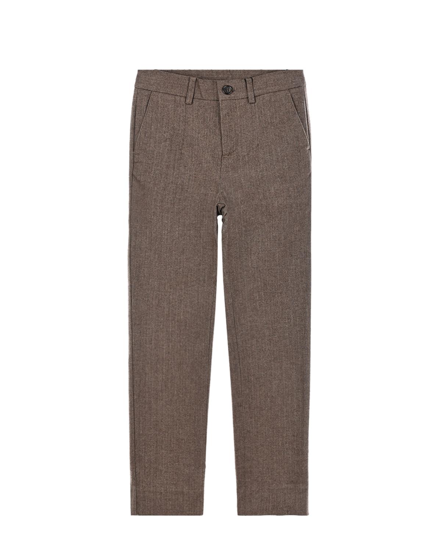 Купить Классические брюки с вышивкой D&G Dolce&Gabbana детские, Коричневый, 98%хлопок+2%эластан, 50%шерсть+50%акриловое волокно