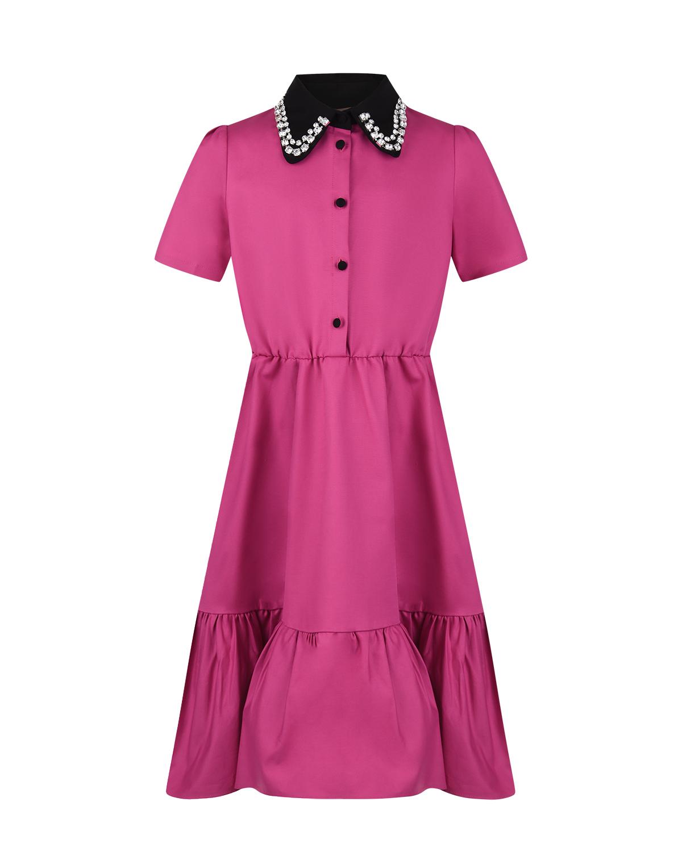 Купить Платье цвета фуксии с короткими рукавами No. 21 детское, Нет цвета, 97%хлопок+3%эластан, 100%стекло, 100%медь