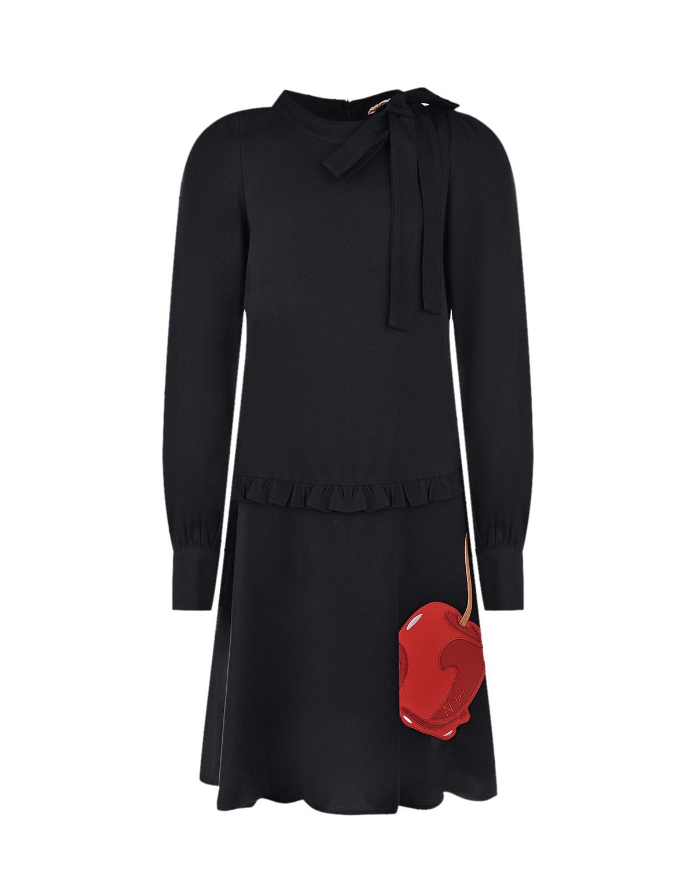 Купить Черное платье с принтом леденец No. 21 детское, Черный, 100%вискоза, 74%полиуретан+21%полиэстер+5%хлопок