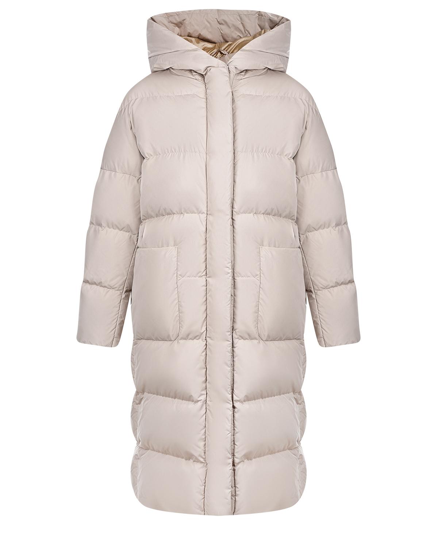 Купить Бежевое пальто-пуховик ADD, Бежевый, 100%полиамид, 100%полиэстер, 90%пух+10%перо