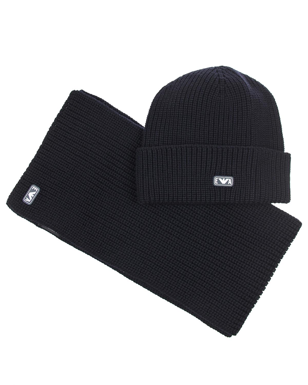 Купить Комплект из шерстяной шапки с отворотом и шарфа Emporio Armani детский, Синий, 100%шерсть
